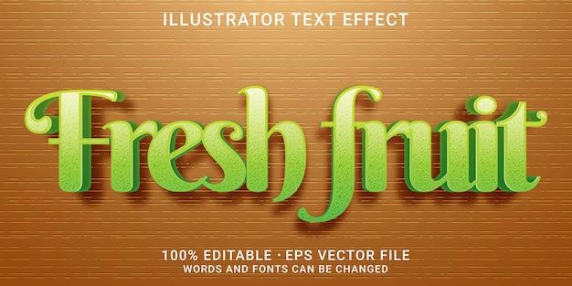 Efecto de texto editable 3d - estilo fruta fresca