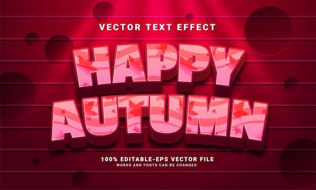 Efecto de texto editable 3d feliz otoño adecuado para eventos temáticos de otoño