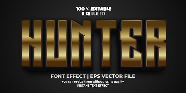 Efecto de texto editable 3d gold hunter