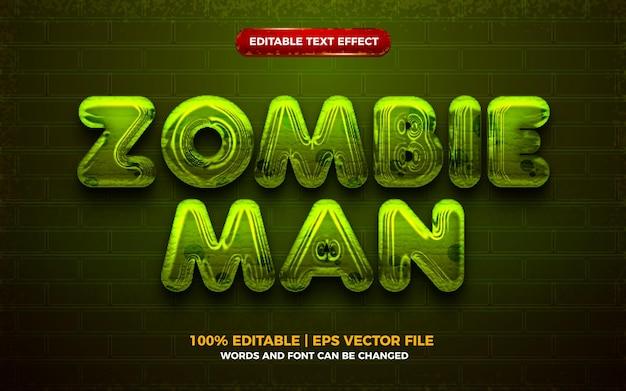 Efecto de texto editable 3d de halloween de hombre zombie