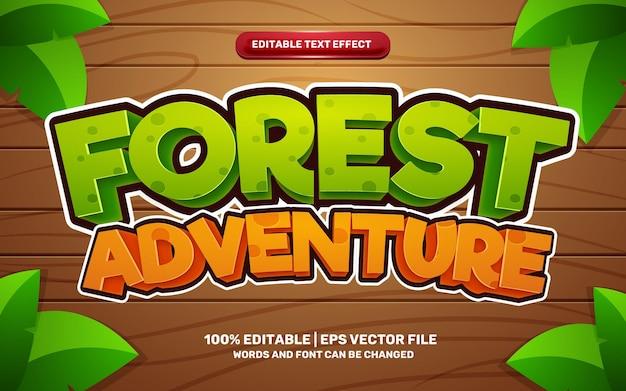 Efecto de texto editable 3d del juego cómico de dibujos animados de aventura en el bosque