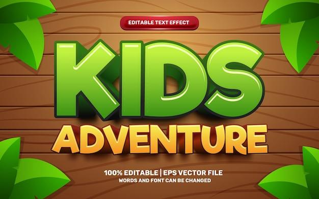 Efecto de texto editable 3d del juego cómico de dibujos animados de aventuras para niños