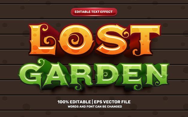 Efecto de texto editable 3d del juego cómico de dibujos animados de lost garden