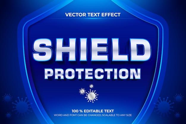 Efecto de texto editable 3d de protección de escudo con estilo de fondo azul