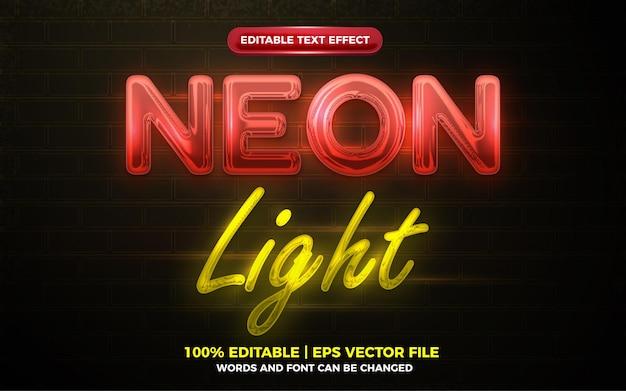 Efecto de texto editable 3d resplandor de luz de neón rojo