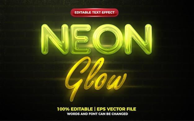 Efecto de texto editable 3d resplandor de luz de neón