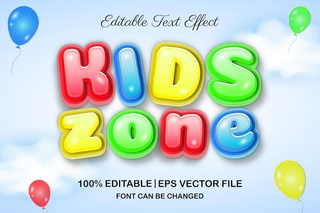 Efecto de texto editable 3d de zona infantil