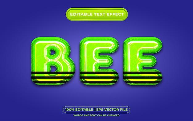 Efecto de texto editable de abeja estilo líquido