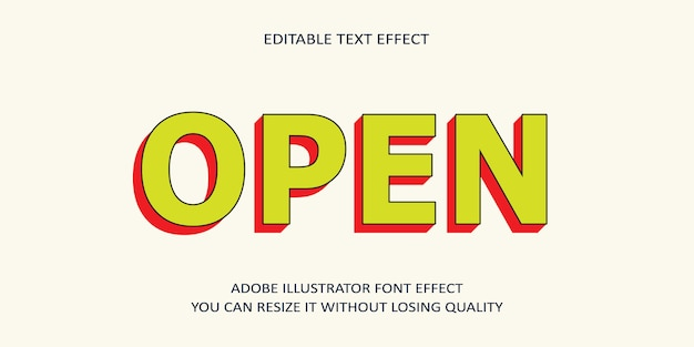 Efecto de texto editable abierto