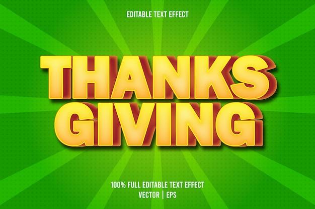 Efecto de texto editable de acción de gracias estilo cómico
