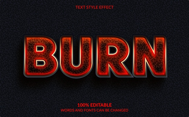 Efecto de texto editable aislado en negro