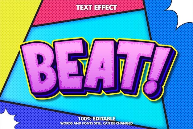 Efecto de texto editable de arte pop y fondo concepto de diseño de cómic retro