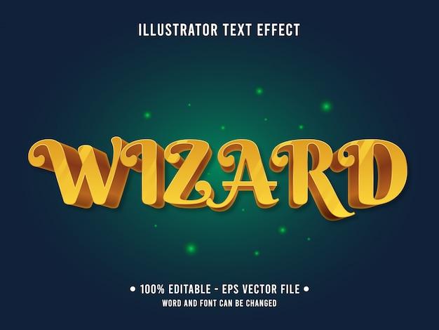 Efecto de texto editable del asistente mágico dorado