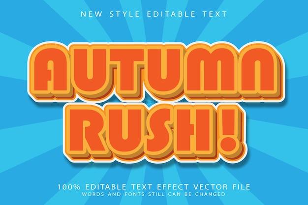 Efecto de texto editable autumn rush en relieve estilo moderno