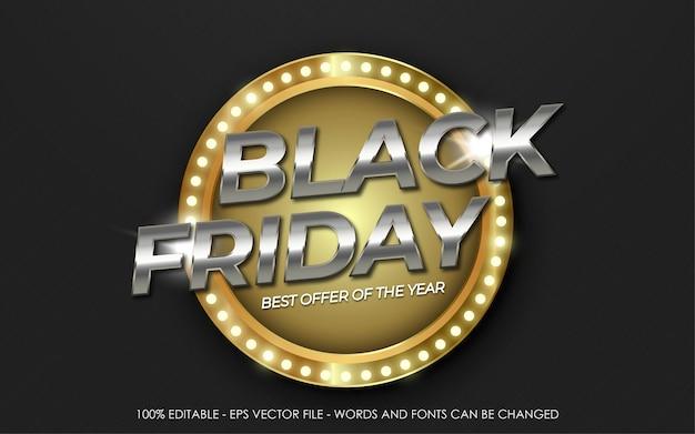 Efecto de texto editable, banner de mejor oferta de black friday