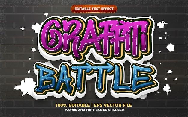 Efecto de texto editable de battle graffiti art style logo 3d