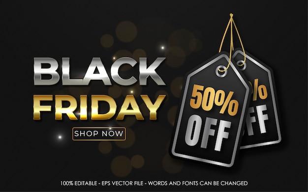 Efecto de texto editable, black friday 50% de descuento en banner de tipografía
