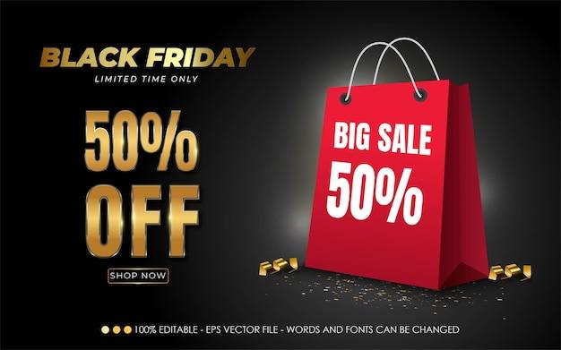 Efecto de texto editable, black friday 50% de descuento en ilustraciones de estilo