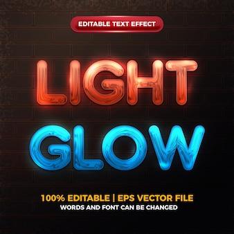 Efecto de texto editable brillante con brillo de luz de neón cromado