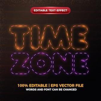 Efecto de texto editable brillante de neon glow de zona horaria
