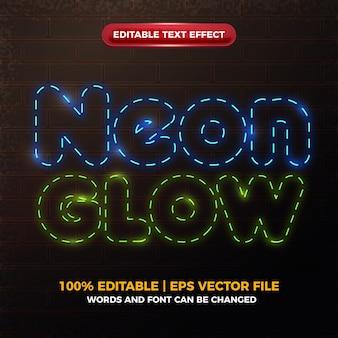Efecto de texto editable brillante neon glow
