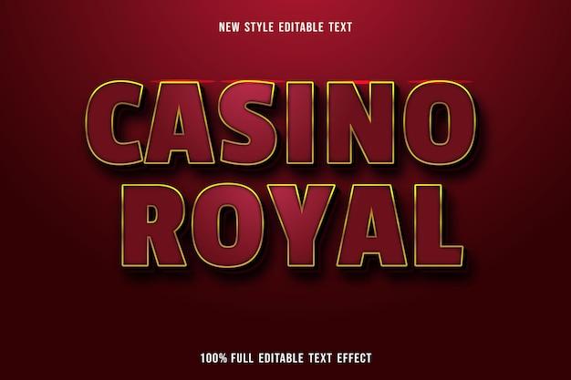 Efecto de texto editable casino royal color rojo dorado y negro