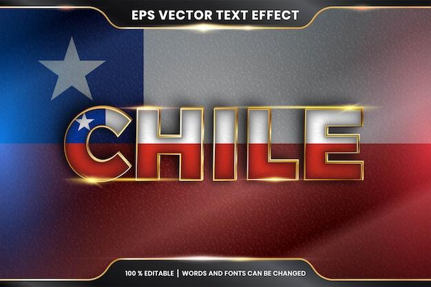 Efecto de texto editable - chile con su bandera nacional del país