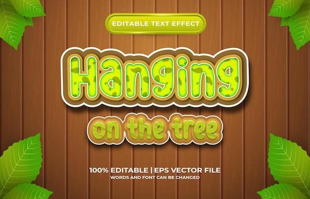 Efecto de texto editable colgado en el estilo de plantilla de árbol