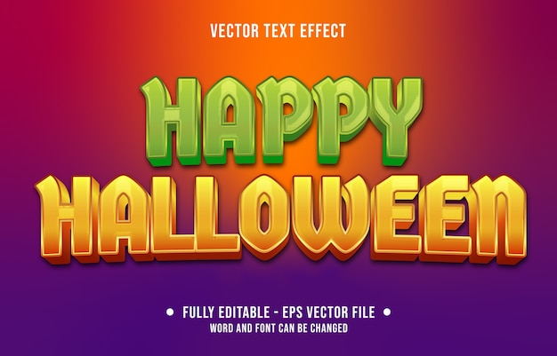 Efecto de texto editable colorido estilo feliz halloween