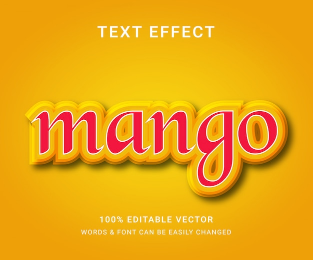 Efecto de texto editable completo de mango