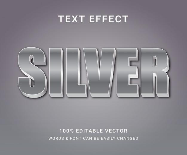 Efecto de texto editable completo plateado