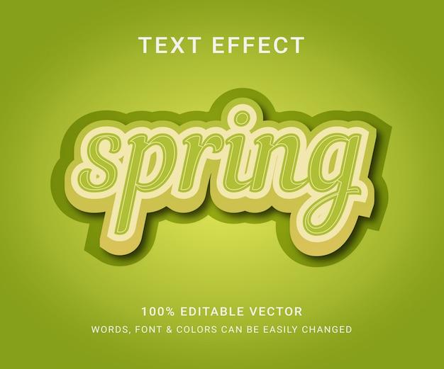 Efecto de texto editable completo de primavera