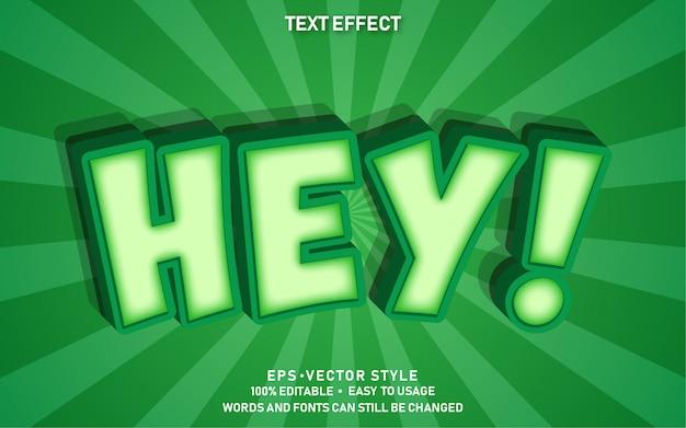 Efecto de texto editable cute comic hey