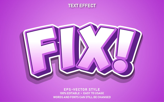 Efecto de texto editable cute purple fix
