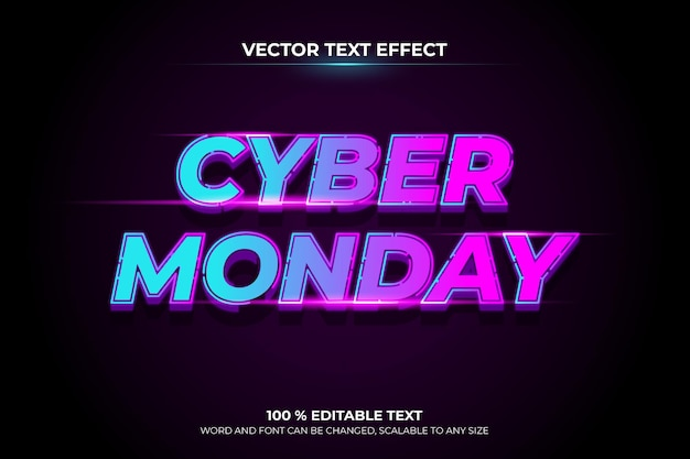 Efecto de texto editable cyber monday