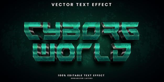 Efecto de texto editable cyborg world style