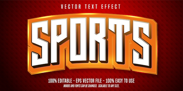 Efecto de texto editable de deportes