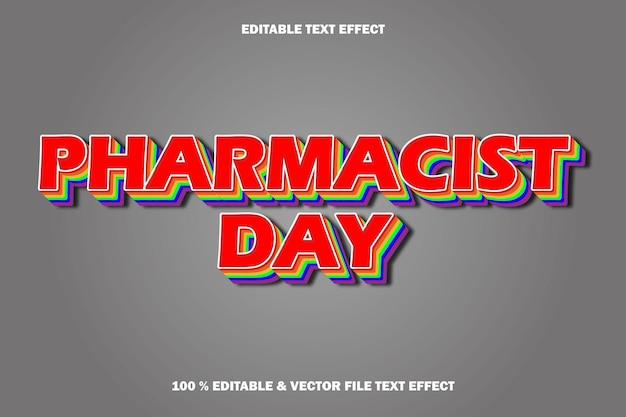 Efecto de texto editable del día del farmacéutico en relieve cómic de dibujos animados