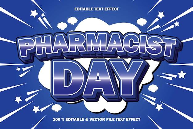 Efecto de texto editable del día del farmacéutico en relieve estilo cómic de dibujos animados