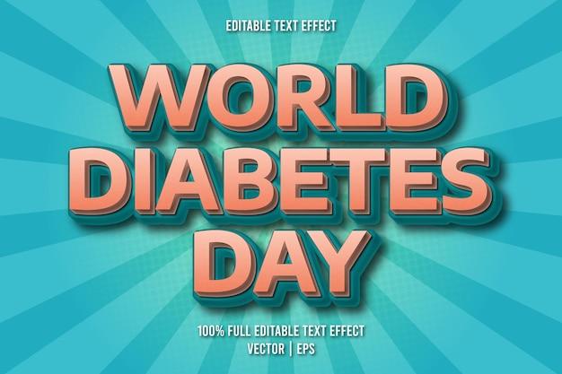 Efecto de texto editable del día mundial de la diabetes estilo cómico