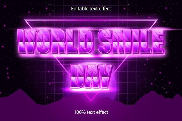 Efecto de texto editable del día mundial de la sonrisa retro con estilo moderno