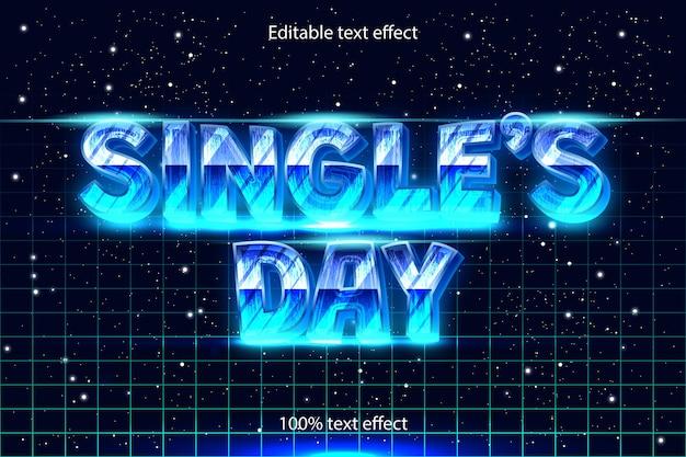 Efecto de texto editable del día del soltero retro con estilo moderno
