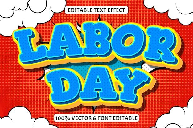 Efecto de texto editable del día del trabajo 3 dimensiones en relieve estilo cómic