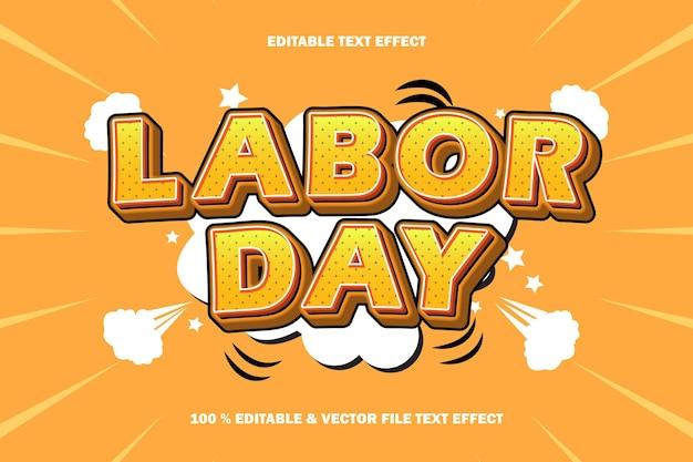 Efecto de texto editable del día del trabajo en relieve estilo cómic de dibujos animados