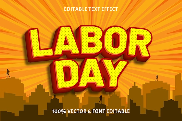 Efecto de texto editable del día del trabajo en relieve estilo cómic