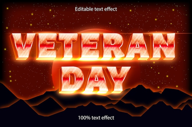 Efecto de texto editable del día de los veteranos retro con estilo moderno
