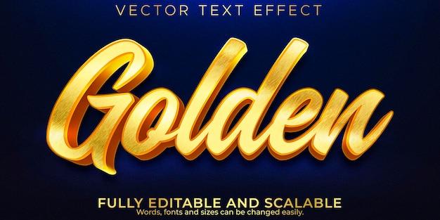 Efecto de texto editable dorado, estilo de texto metálico y brillante.