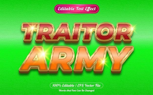 Efecto de texto editable del ejército traidor con temática dorada.