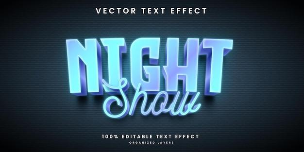 Efecto de texto editable de espectáculo nocturno de estilo neón.