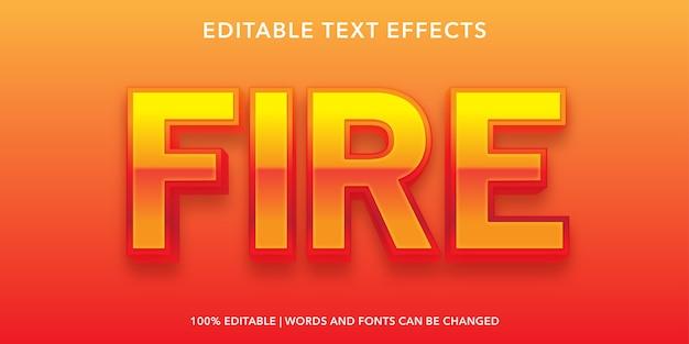 Efecto de texto editable de estilo 3d de fuego